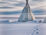 Deline teepee in winter