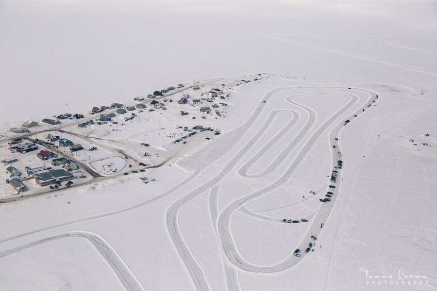 Aerial of Tuktoyaktuk in winter