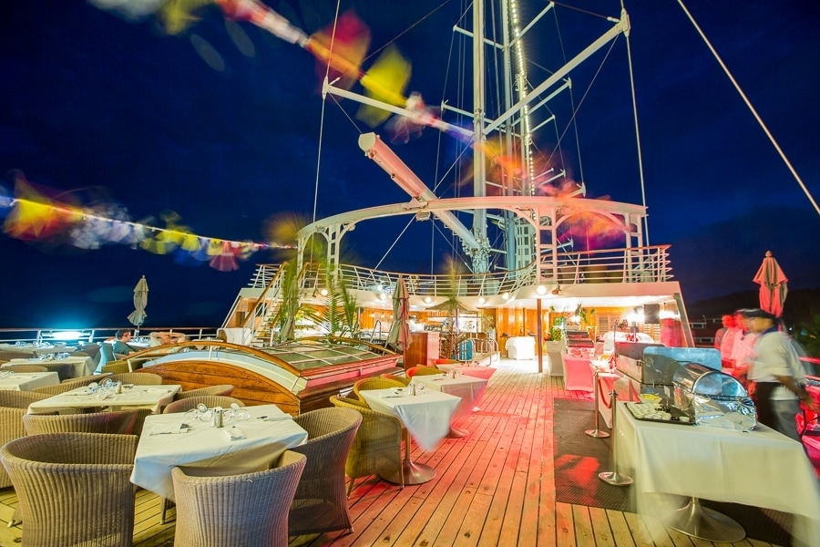 Dinner aboard the Wind Spirit luxury sailing yacht