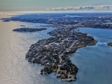 Aerial of Latham Island in Yellowknife