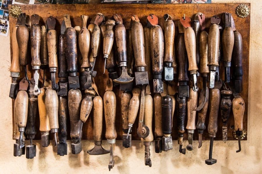 Shoe making tools at Roberto Ugolini Firenze