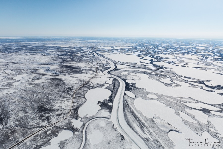 Aerial of Mackenzie Delta and Ice Road