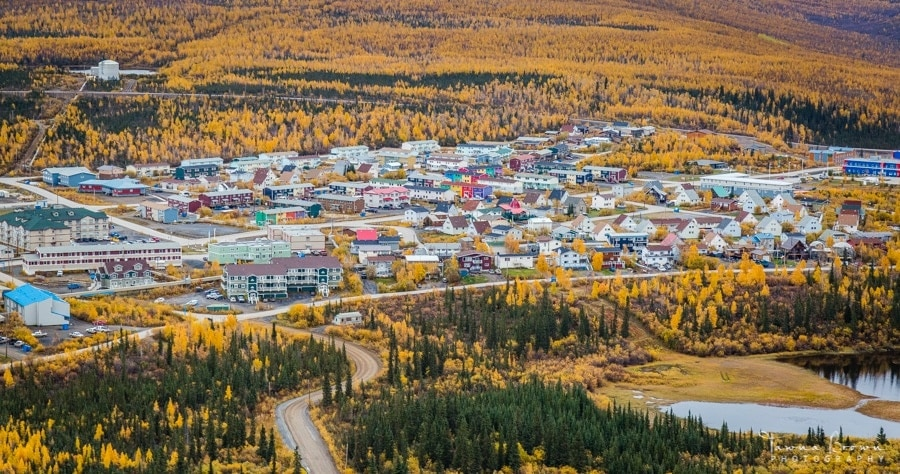 Aerial view of Inuvik in the Fall