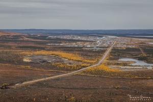 Aerial view of Inuvik-Tuktoyaktuk Highway