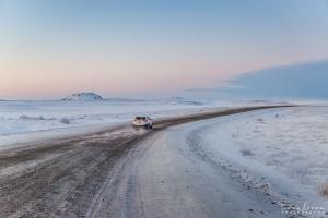 Driving on the Inuvik-Tuktoyaktuk Highway in winter