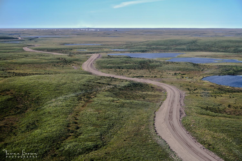 Aerial of Inuvik-Tuktoyaktuk Highway in summer