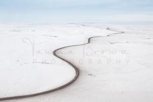 Aerial of Inuvik-Tuktoyaktuk Highway in winter
