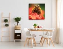 "Orange Flower Canvas Square (40x40"") Mockup"