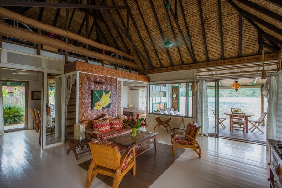 Interior of Villa Cook in Moorea