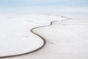Winter aerial of Inuvik-Tuktoyaktuk Highway