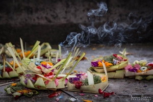 Balinese canang sari offerings to the Gods