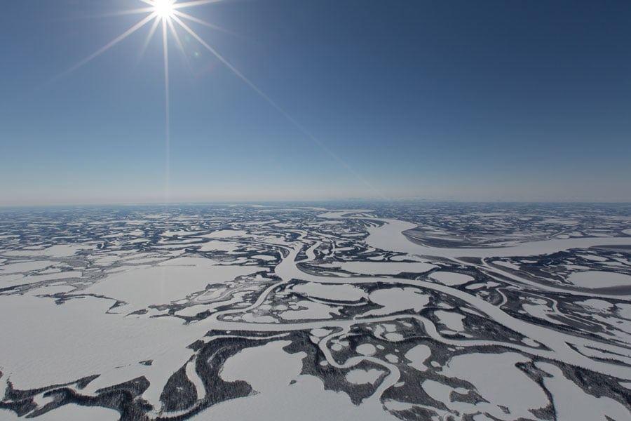 Aerial of Beaufort Delta in Winter