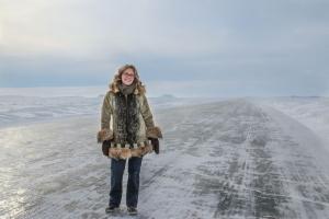 Tawna on Ice Road on Arctic Ocean