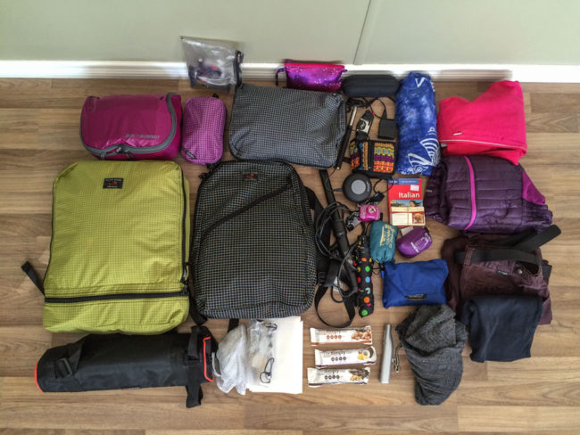 luggage contents for round the world travel