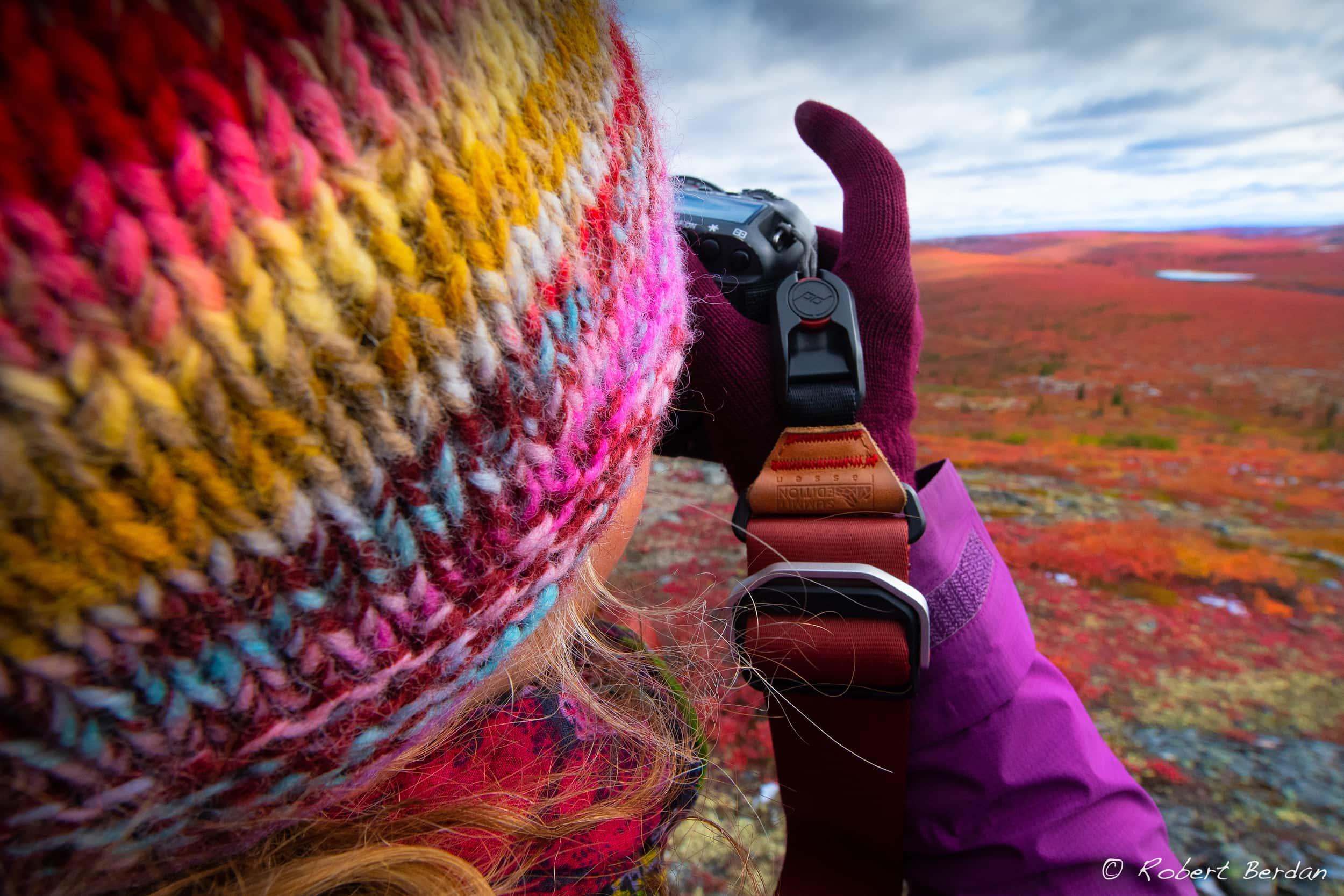 Photographer Tawna Brown in the arctic barrenlands of Canada's Northwest Territories.